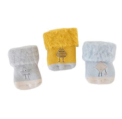 Boomly 3 Paare Unisex Baby erste Socken Fußsocken Winter warme Socken Dick Futter Samt Süß Karikatur Anti-Rutsch Socken Strümpfe (#3, 0-6 Monate)