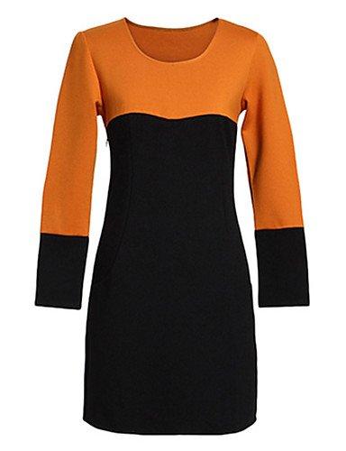 PU&PU Robe Aux femmes Gaine Simple / Street Chic,Couleur Pleine Col Arrondi Mini Autres RED-XL