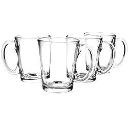 com-four® 4x Teeglas mit Henkel - Trinkgläser aus Glas für Tee oder Kaffee - Kaffeeglas für Cappuccino (04 Stück)