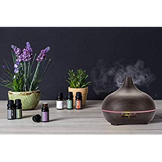 Mist Humidifier + Aroma Diffuser-6 Color Cozy LED Lights, Aromatherapy Essential Oil Diffuser Portable Ultrasonic Cool Mist Aroma Humidifier with Color LED Lights by Wasserstein (Dark Wood Grain)