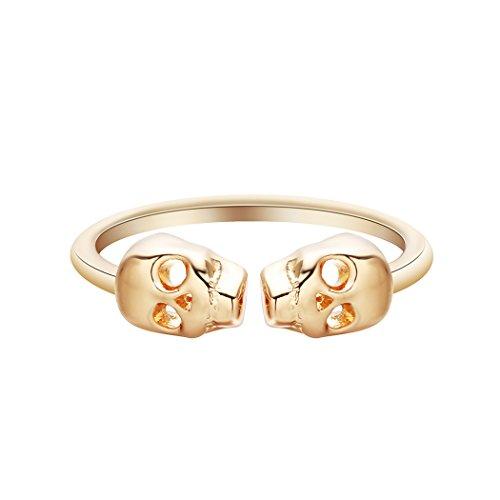 Gold Farbe Skelett Totenkopf Ringe für Frauen Punk Mann Hohe Qualität Persönlichkeit Ring Halloween Geschenk (Gut Gemachte Kinder Halloween Kostüme)