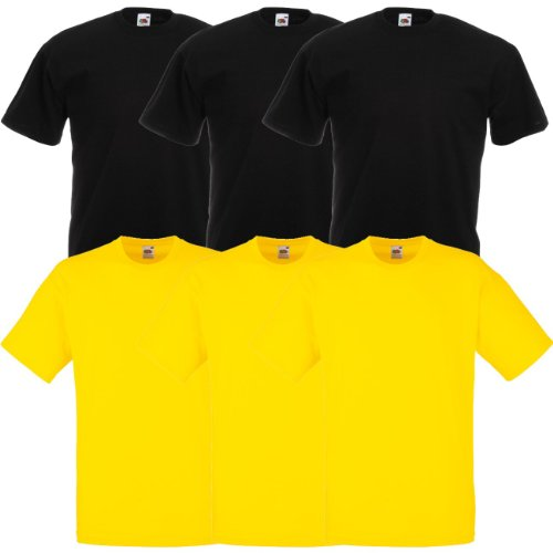 Fruit of the Loom Original Valueweight T Rundhals T-Shirt F140 3er 6er 9er 12er Pack 3x black 3x yellow