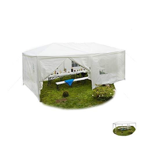 Relaxdays Padiglione 3x6 Aperto con Pannelli Laterali e Finestra da Giardino Tetto PE Acciaio 300x600 Bianco Trasparente