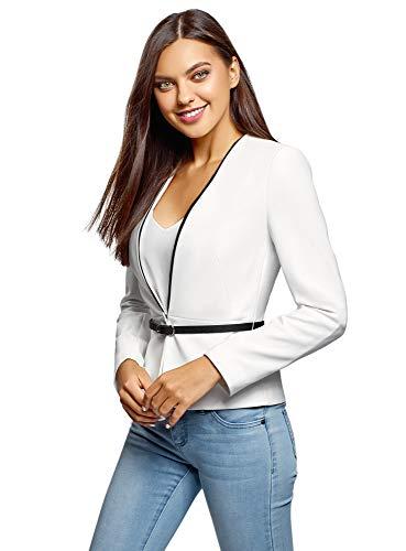 Oodji Ultra Mujer Chaqueta Entallada con Gancho, Blanco, ES 40 / M