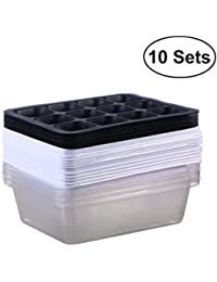BESTONZON Seedling Tray Seed Starter Tray With Dome And Base 12 Cells For Gardening Bonsai - 10 Sets