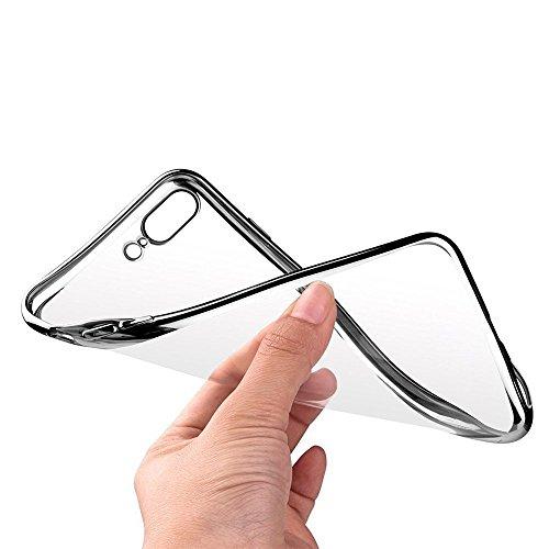 Coque iPhone 7 Plus, Coodio Chrome Placage Bumper Case [Absorption de Choc] Housse Etui Coque arriere transparente en TPU Silicone Coque Pour iPhone 7 Plus - Rose Argent