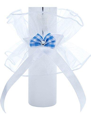 Tropfschutz für Tauf- und Kommunionskerzen von Princess Taufkleid - Modell 17  Tropfenfänger für Kerzen bis 50mm Durchmesser   Weißer Kerzenrock aus Satin mit farblichen Verzierungen