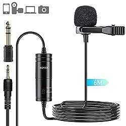 AGPTEK Lavalier Mikrofon, 6M Freisprech Ansteck Mini Mikrofon mit omnidirektionalem Kondensator für Kamera, DSLR, iPhone, Android, PC, Laptop, Ideal für Interview, Videokonferenz, Podcast usw. Schwarz