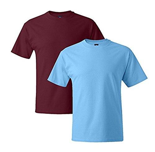 Hanes Mens 5180 Short Sleeve Beefy T 1 Aquatic Blue / 1 Cardinal