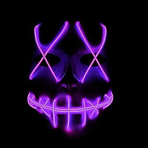 Kostüme Halloween Purge Für (lzn Cosplay Geist Maske Schlitz Mund Leuchten Glühende EL Draht Nette Masken Für Halloween Kostüm Party)