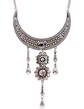 QIYUN.Z Silber Bib Aussage Klobige Halsband Strass Halskette Stamme Halskette Anhänger Halsketten Ketten