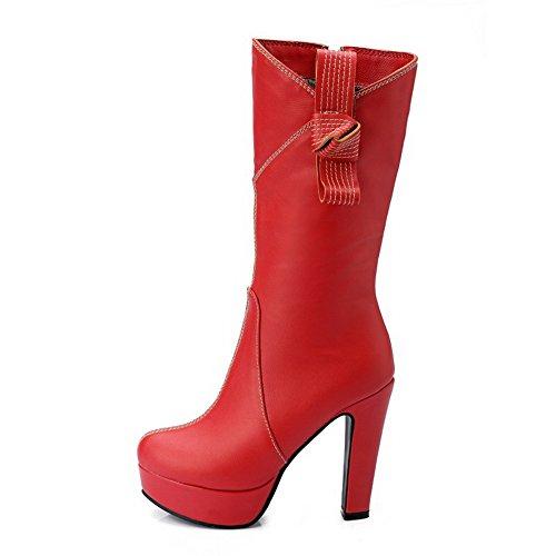 VogueZone009 Damen Eingelegt Hoher Absatz Rund Zehe PU Leder Reißverschluss Stiefel, Rot, 41