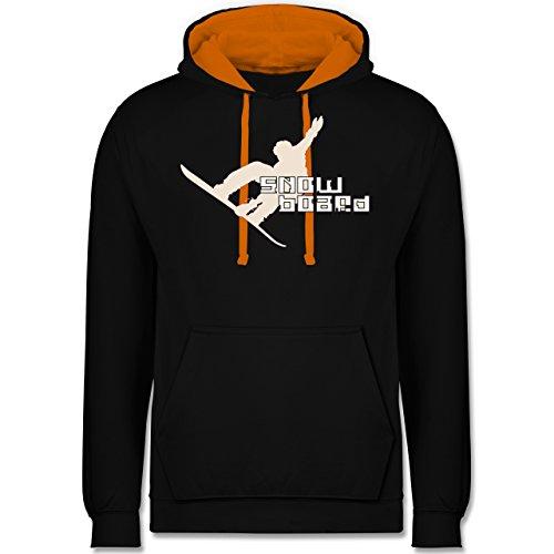 Wintersport - Snowboard - Kontrast Hoodie Schwarz/Orange