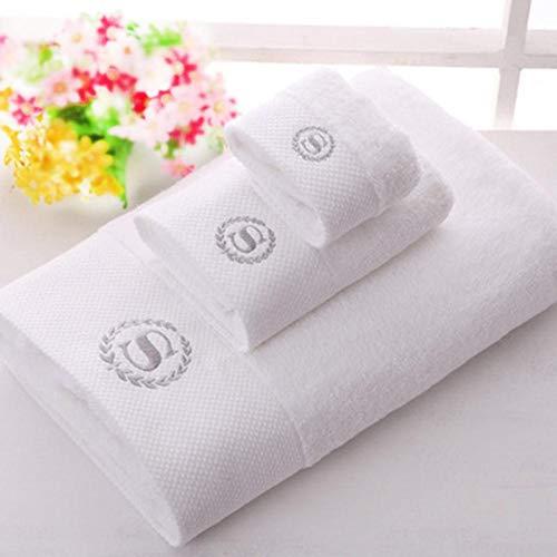 HUILIN Pakistan Cotton Badetücher Set, Cotton Beach Terry Badetücher für Erwachsene, White Serviette Face Handtuch, 70x140cm, 34 x 75cm - Handtuch-set Monogrammiert