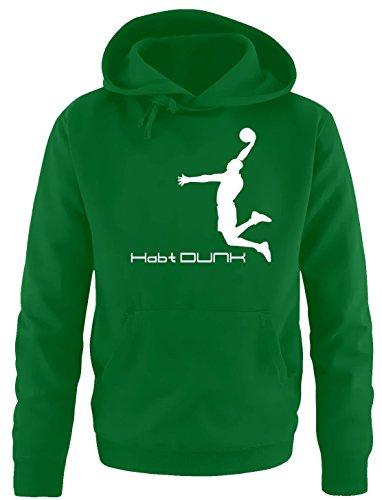 Habt DUNK Basketball Slam Dunkin Kinder Sweatshirt mit Kapuze HOODIE green-weiss, Gr.140cm