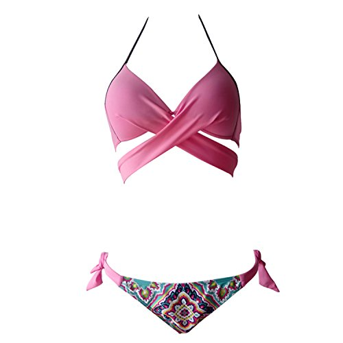 Push Up Bikini Set Lemon design Sexy gepolsterte Badeanzug Candy bunte Bademode Strappy Tankinis Top gepolstert und kurze Unterseite 2 Stück S-2XL (Wassermelone, L) (Badeanzug Einem Stück)