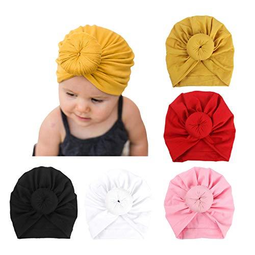 DRESHOW 5 Stücke Baby Turban Hüte Turban Brötchen Knoten Baby Infant Beanie Baby Mädchen Weiche Nette Kleinkind Mütze