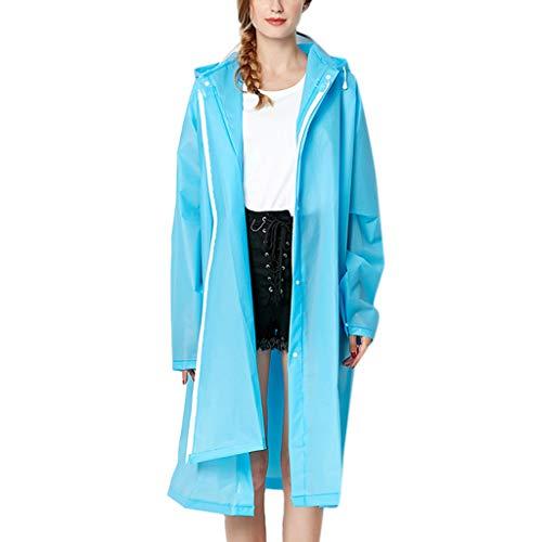 IZHH Mode Damen Regenjacke, Kapuze Transparente Eva Mantel Feste Taschen Winddicht Freien Outwear Wasserdichte Splice Windjacke Regen Zubehör für Camping und Reisen(Himmelblau,X-Large)