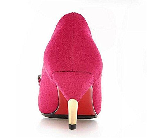 Womens Frosted bocca superficiale Court scarpe a punta sottile con sandali degli alti talloni peach red
