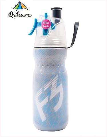 Qshare - Bouteille Pulvérisatrice avec le Brouillard Pulvérisé, Bouteille d'Eau Sportive Boisson & Brumisation Isolée avec le Brumisateur, Hydratation pour le sport en plein air, sans BPA, 590ml
