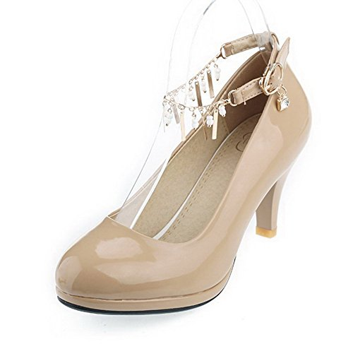 VogueZone009 Femme Pu Cuir Couleur Unie Boucle Rond à Talon Correct Chaussures Légeres Abricot