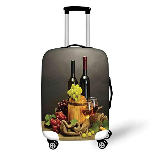 Travel Luggage Cover Suitcase Protector,Winery Decor,Barrel Bottles and Glasses of Wine and Ripe Grapes on Wooden Table Decorative Picture,Multi,for Travel,M -
