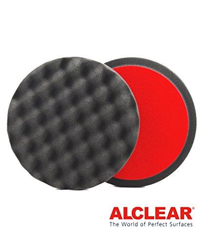ALCLEAR 5616030F Finishpad gegen Hologramme, Auto Polierschwämme, gewaffelt, Durchmesser: 160x30 mm, anthrazit,2er Set, Polierpad polieren Pad Schwamm Polierschaum f. Poliermaschine