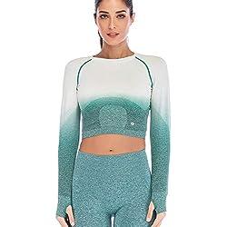 Leoyee Seamless Gradient Gym Medias Camisa Deportiva Yoga Top para Mujeres Running Camiseta de Entrenamiento Top de Manga Larga (Bianco/Deep Teal, Small)