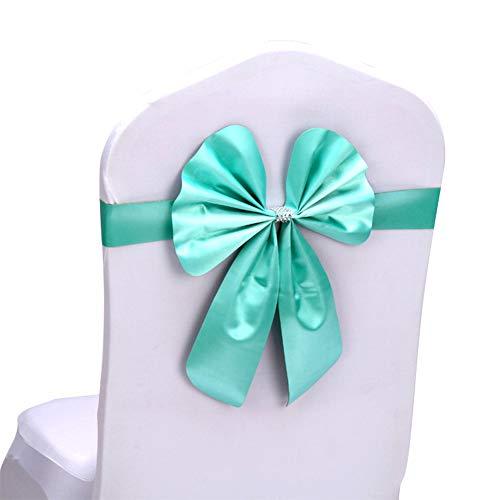 Kentop Stuhl Schärpe Band Stretch Schleife Stuhlhussen Dekorationen Schleifenband für Hochzeit Jahrestag Partys (Tiffany Blau) (Blau Party Tiffany Dekoration)
