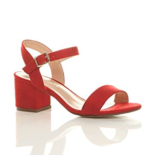 Ajvani Women Ladies Low Block Heel peep Toe Ankle Strap Strappy Party Sandals Size 8 41