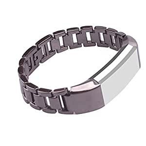 mtsugar Newest Premium Stainless Steel Replacement Accessory Metal Watch Bands Bracelet Strap for Fitbit Alta Only(No tracker, Replacement Bands Only) (Black)