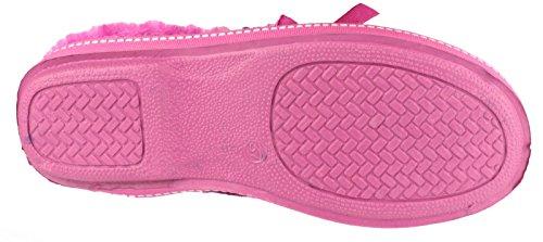 Mirak Ladies Dijon Faux Fur Accented Textile Stitch Slipper Pink Fuchsa