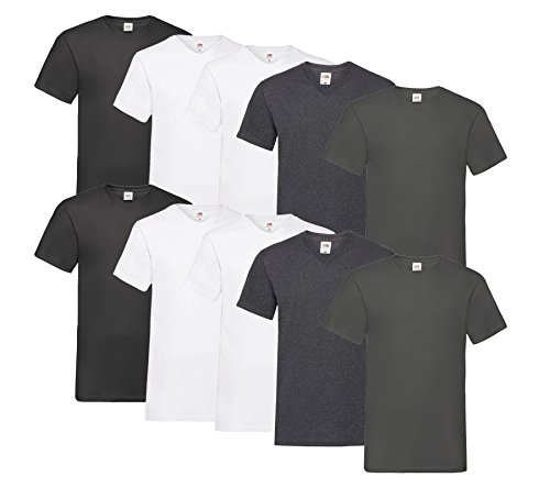 Fruit of the Loom Fruit of the Loom 10 T Shirts V-Neck M L XL XXL V-Ausschnitt Diverse Farben auswählbar (M, 4Weiß/2Dark H.Grey/2Anthrazit/2Schwarz)