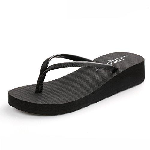 Lu La Digue semplice estate ladies flip flop con le piste con la marea nella versione coreana di spessa fine fine di slittamento della sabbia sandali e pantofole B