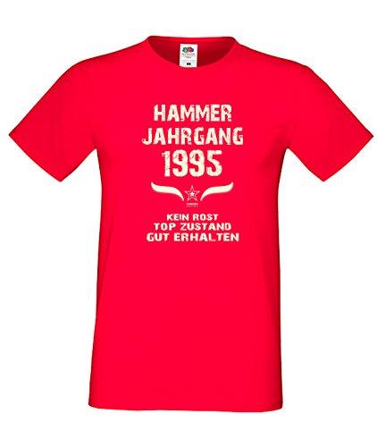 Sprüche Motiv Fun T-Shirt Geschenk zum 22. Geburtstag Hammer Jahrgang 1995 Farbe: schwarz blau rot grün braun auch in Übergrößen 3XL, 4XL, 5XL rot-01