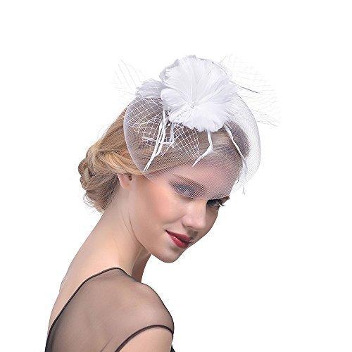 Netz Braut Kopfschmuck Haarnadel Haar Clip Hut Feder Haarschmuck Kopfbedeckung für Party Kirche Hochzeit Cocktail Tea Party Hat(Weiß) ()