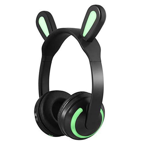 PXYUAN Frauenkopfhörer, Bluetooth-Kopfhörer für Katzenohrlautstärke, LED-Leuchten für kabellose Kopfhörer über dem Ohr, weiche Memory-Protein-Ohrenschützer, integriertes Mikrofon, PC/Handys/Ferns Boss Stereo System