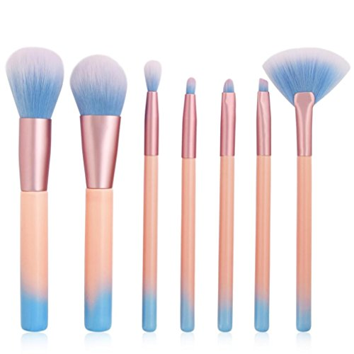 Moonuy 7PCS Brosse à yeux Kit de pinceau de maquillage avec poche Beauty Pinceaux Professionnels Maquillage Makeup Brushes, Magnifique cadeau Makeup Brush Set (Rose)