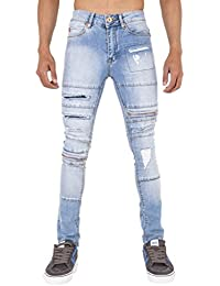 Homme Rip et zip Super Skinny stretch Punk Rétro Denim Jeans