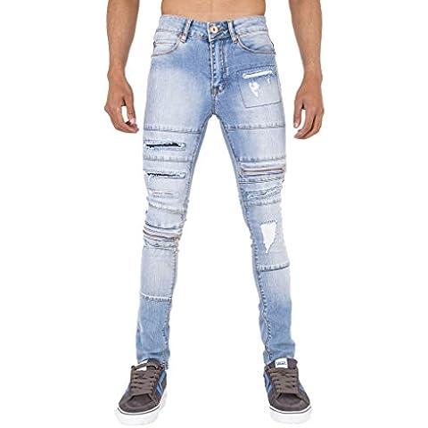 Para hombre Rip y cierre de cremallera super skinny elástico Punk Retro Denim Jeans