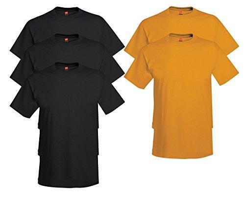 Hanes Men's Tagless Comfortsoft Crewneck T-shirt (Pack of 5) 3 Black / 2 Gold