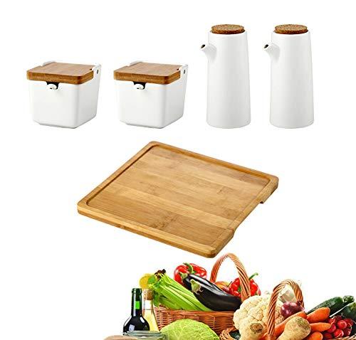 MAI&BAO Öl Flasche Keramik Öl Essig Spender Ölflasche küche Ölbehälter Auslaufsicher Ausgießer Staubdicht, Gewürzkasten Sauce Cruet 400ML,WhiteA - Küche öl-flasche