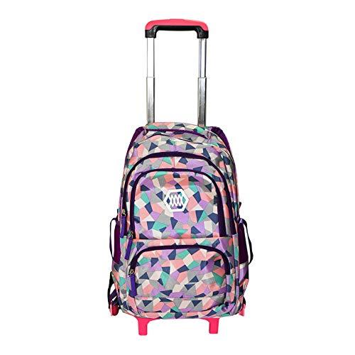 Hzjundasi zaino con ruote borsa per studenti - con heightened sei ruote salire le scale - stylish trolley zaino borsa a tracolla per ragazze kids bambini (viola)