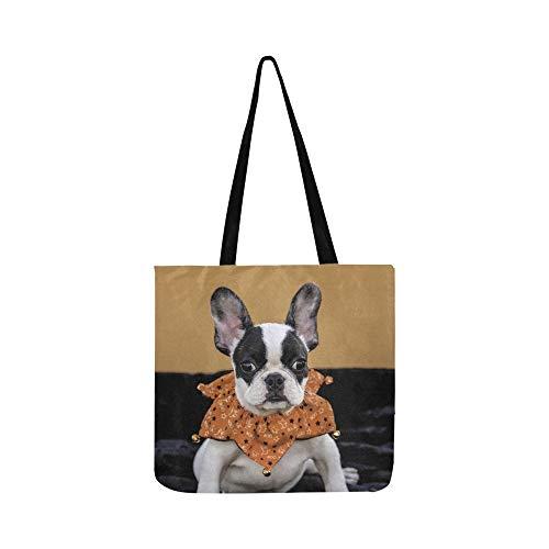 Schwarz Weiß Französisch Bulldogge Welpen Orange Leinwand Tote Handtasche Schultertasche Crossbody Taschen Geldbörsen Für Männer Und Frauen (Schwarze Und Weiße Welpen Kostüm)