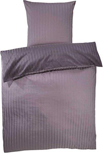 MERADISO® Luxus-Satin-Wendebettwäsche (100% Baumwolle) mit Damast Streifen (135 x 200 cm, mauve / flieder) -