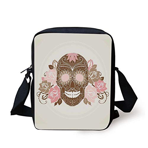 Skull,Skull and Roses Dead Man in Colors Vintage Style Spooky Graphic Art Print,Chocolate Pink Cream Print Kids Crossbody Messenger Bag Purse Womens Vintage-pink Camo