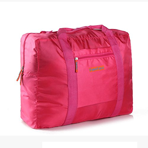 FakeFace Unisex Wasserdichte Reisetasche Faltbare Aufbewahrungstasche Kleidertasche Tasche für Reise Camping Wandern Sport Urlaub Outdoor Aktivitäten (Dunkelblau) Rosa