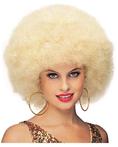(Horror-Shop Blonde Jumbo Afro Perücke Deluxe als Kostümzubehör für Fasching)