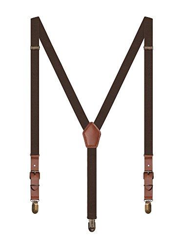 Irypulse Unisex Retro Hosenträger Y-Form 3 Klassische Messing Clips für Herren Damen Jugendliche, Hosenträger Fit für 150-180cm Höhe - Dunkelbraun (Damen Dünne Hosenträger)