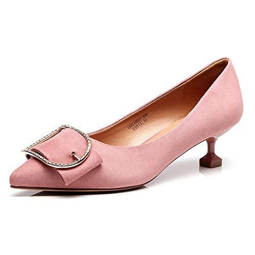 MAKAFJ Womens Classic Cut Out Spitzschuh Kitten Heel Suede Flach Slip-On Low Heel Large Size Schuhe Für Party Prom,Pink-EU43 -